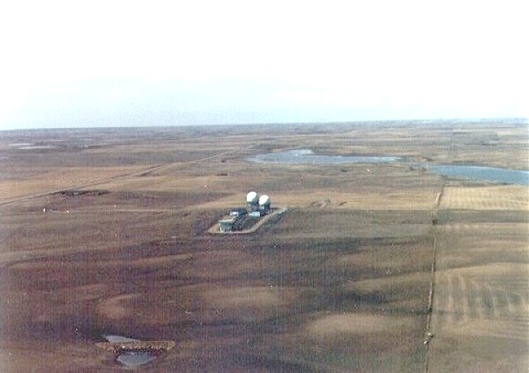 Aerial view of Operations site looking west with Highway 7 to the south - August 1980