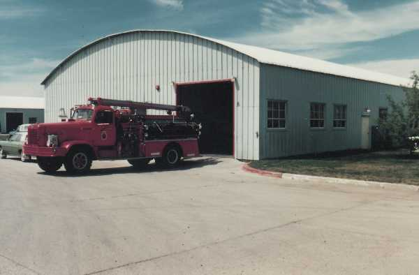 Fire truck in front of the fire hall - 1985