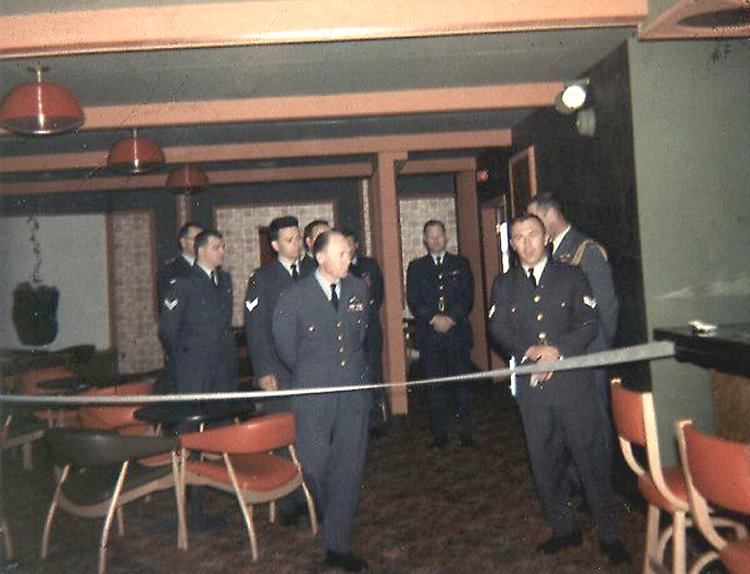 Major General Lipton, General Mussells, Cpl. Carlyle and Cpl. Medland at grand opening of the Junior Ranks Club - July 1969