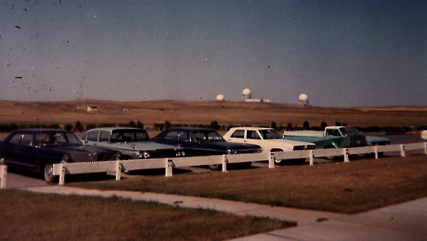 Operations site radomes as seen from the parking lot behind the barracks - August 1969