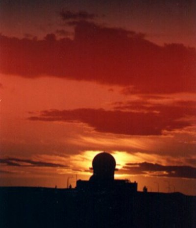 Search radar looking west into a typical Saskatchewan sunset - September 1981