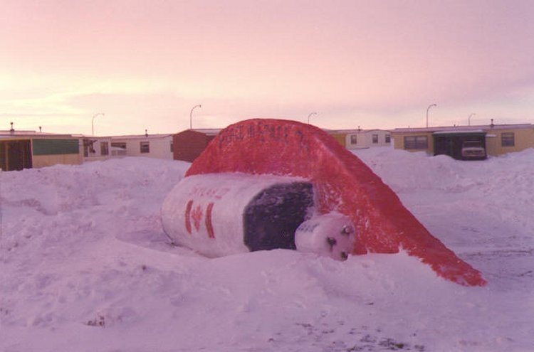 Winter Carnival snow sculpture - February 1974
