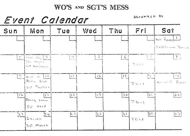 "CFS Yorkton ""The Echo"". WO's & Sgts Mess Events Calendar - 4 November 1980"