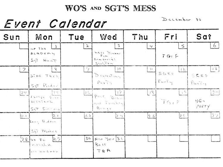 "CFS Yorkton ""The Echo"". WO's & Sgts Mess Events Calendar - 4 November 1980b"