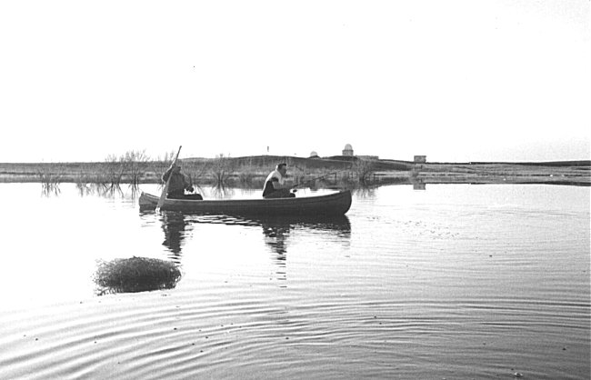 Alsask Golf Course during a spring flood. Ops Site on hill in background - April 1980