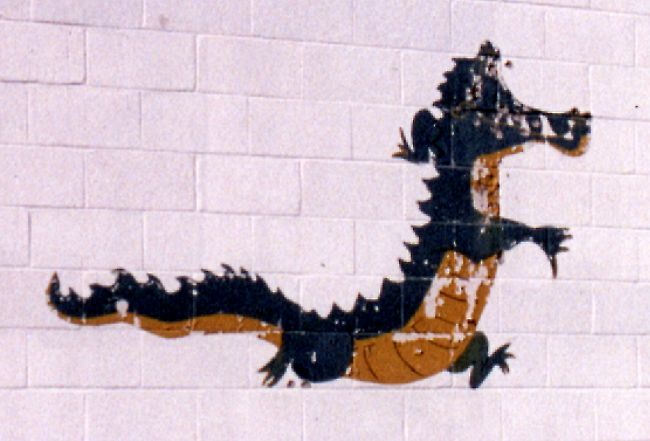 Painting on end wall of GATR building - August 1999